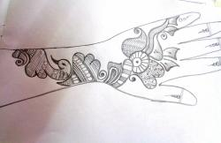 Drawn paper henna design