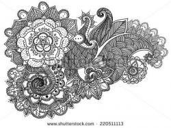 Drawn mehndi detailed