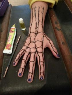 Drawn tattoo finger bone