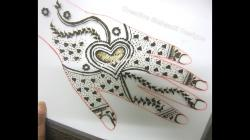 Drawn mehndi heart shape