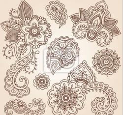 Drawn mehndi indian flower