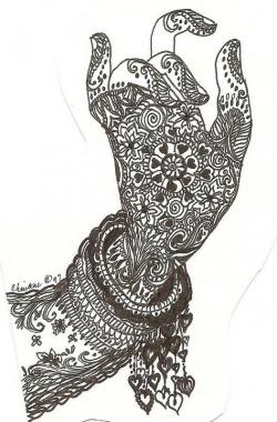 Drawn mehndi sketch