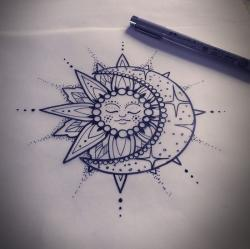 Drawn mehndi sun