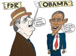 Drawn caricature contrast