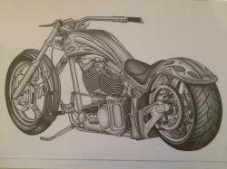 Drawn motorcycle custom chopper