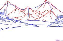 Drawn lake scenery