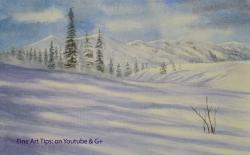 Drawn snowfall winter landscape