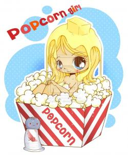 Drawn popcorn chibi
