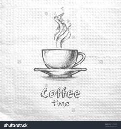 Drawn mug coffe