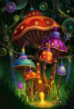 Drawn mushroom alice in wonderland mushroom
