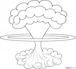 Drawn explosion mushroom cloud