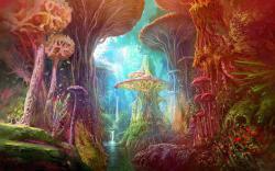 Drawn mushroom magical