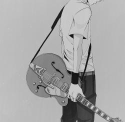 Drawn musician anime