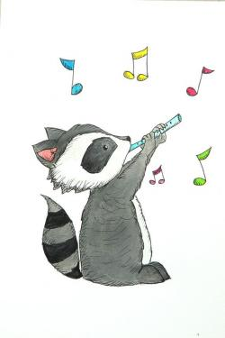 Drawn racoon kawaii