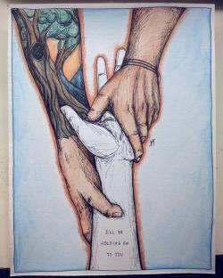 Drawn music hand holding