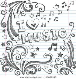 Drawn music notes background design