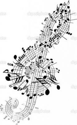 Drawn music notes beautiful music