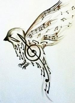 Drawn music notes bird