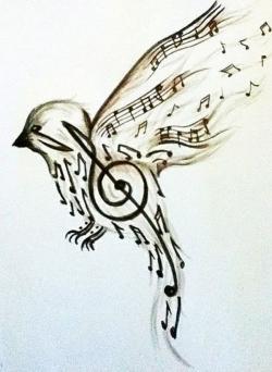 Drawn music notes bird