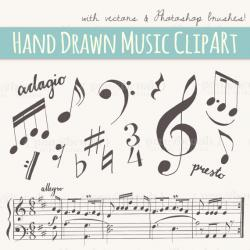 Drawn music notes calligraphy