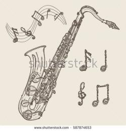 Drawn music notes classic music