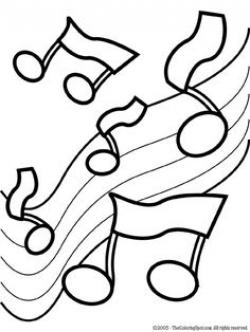 Drawn music notes coloring page