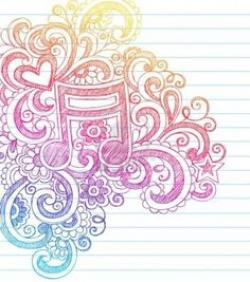 Drawn music notes doodle background