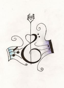 Drawn music notes guitar
