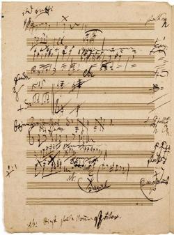 Drawn music notes handwritten