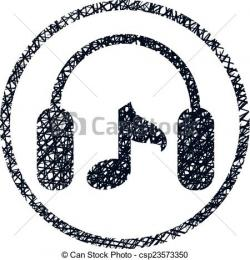 Drawn music notes headphone music