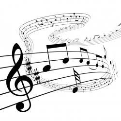 Drawn music notes jazz music