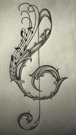 Drawn music notes love heart