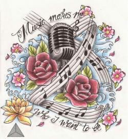 Drawn music notes music mic