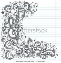 Drawn music notes music related