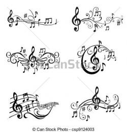 Drawn music line drawing