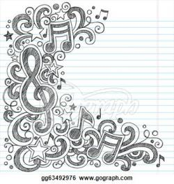 Drawn music notes notebook