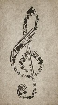 Drawn music notes old style