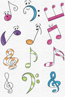 Drawn music notes orchestra