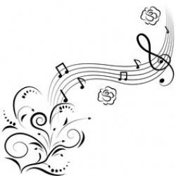 Drawn music notes outline