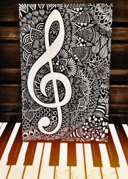 Drawn music notes paper