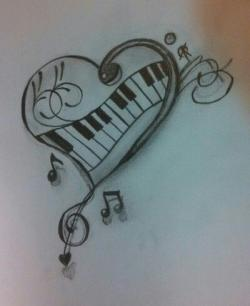 Drawn music notes pencil sketch