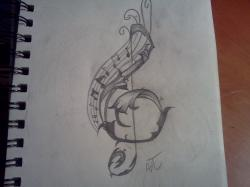 Drawn musician pencil drawing