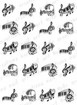 Drawn music notes piano