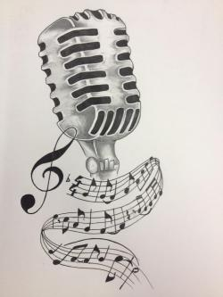 Drawn microphone pencil drawing