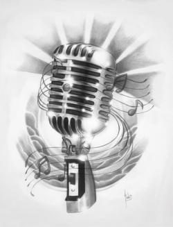 Drawn music notes radio microphone