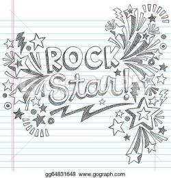 Drawn music notes rock star