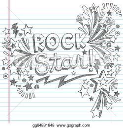 Drawn music notes rock star