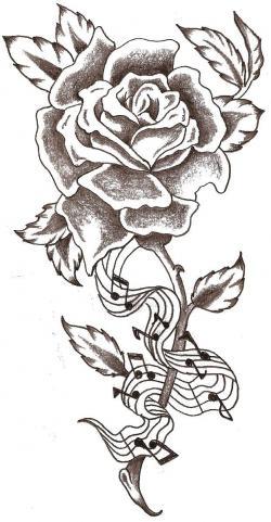 Drawn music notes single black