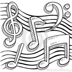 Drawn music notes sketched