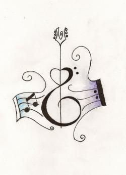 Drawn music notes small
